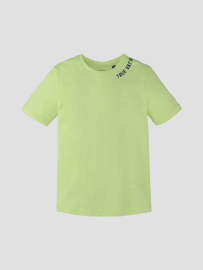 Tom Tailor T-Shirt mit Rücken-Print, washed out neon yellow|yellow