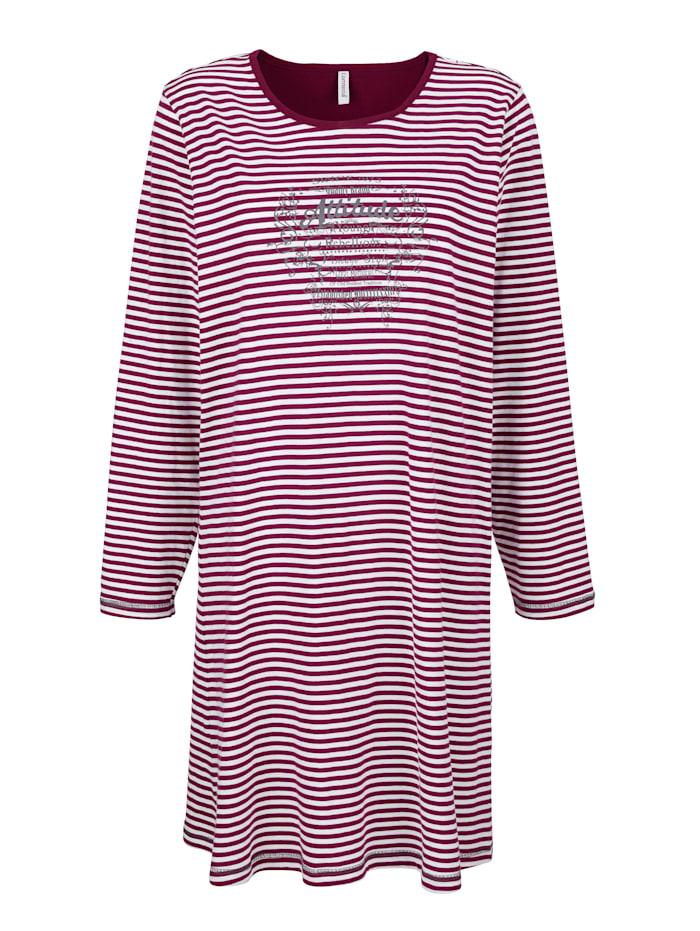 Comtessa Nachthemd im zeitlosen Ringeldessin, Bordeaux/Ecru