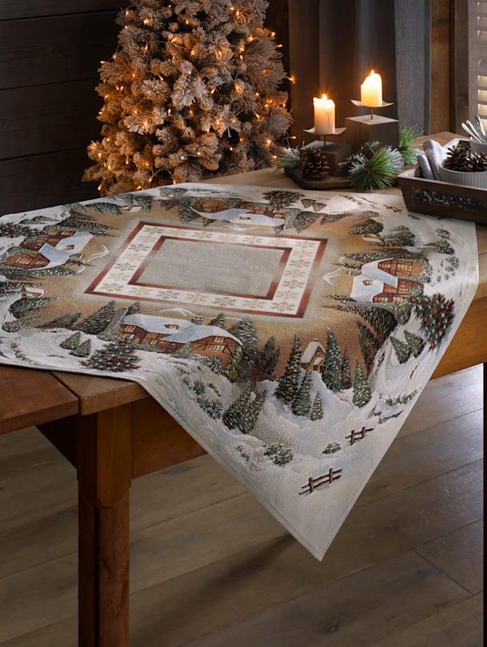 Hossner Linge de table 'Paysage d'hiver', Crème/marron/vert
