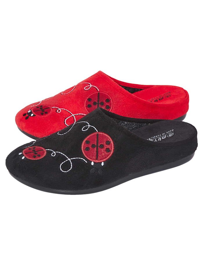 Belafit Pantoffeln im 2-er Pack, Schwarz/Rot