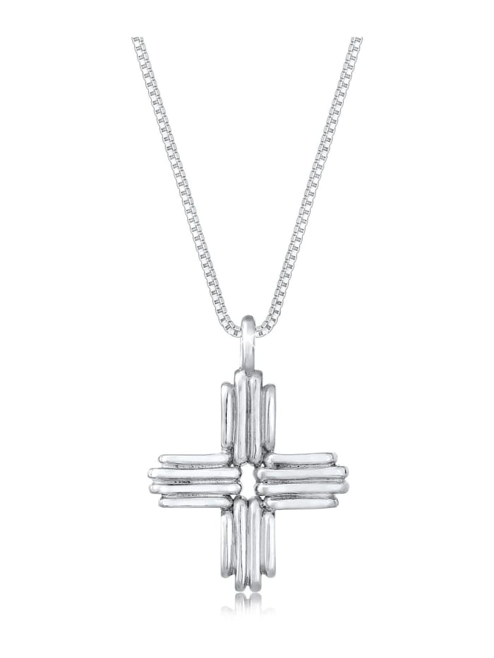 Elli Halskette Venezianerkette Kreuz Symbol Basic 925 Silber, Silber