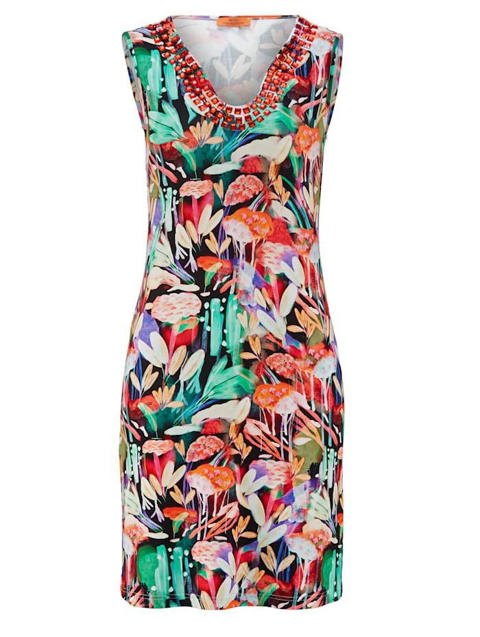 Alba Moda Kleid mit farbigen Steinen, bunt