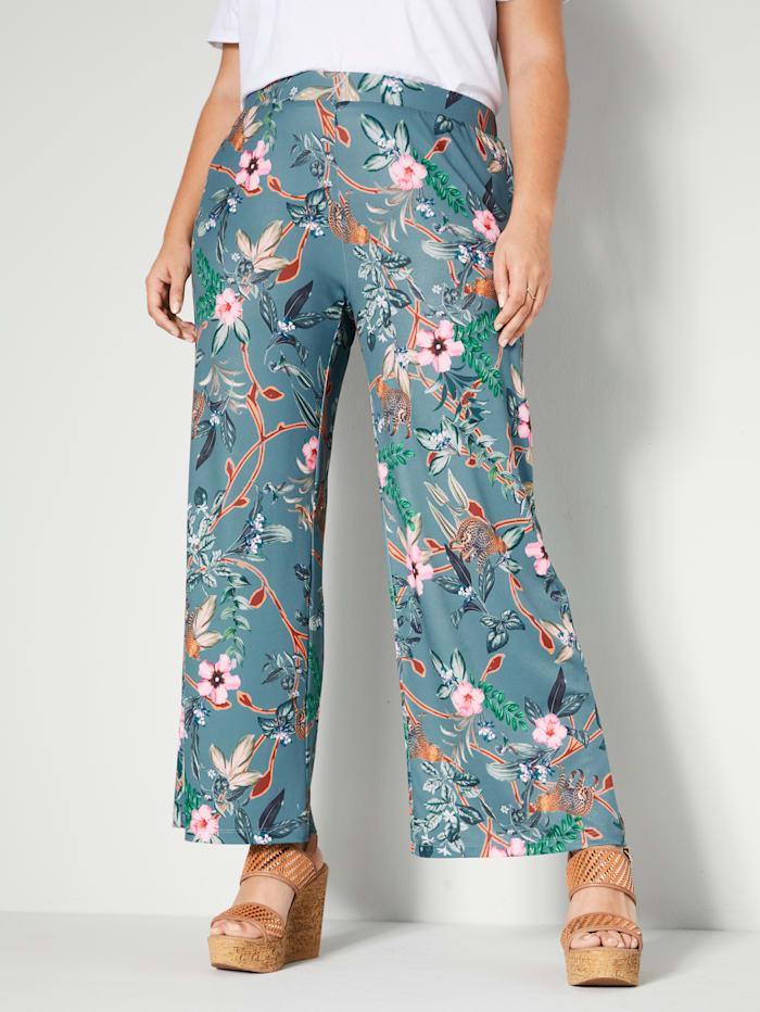 Sara Lindholm Pantalon de coupe Straight Fit, Sauge/Rose vif