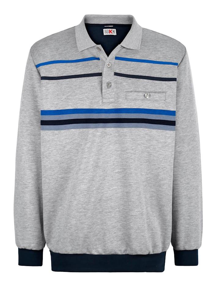 Roger Kent Sweatshirt mit Streifendruck, Grau/Blau