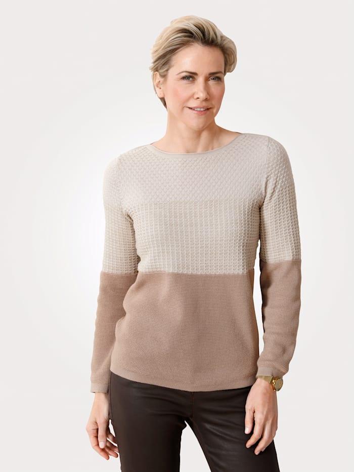 MONA Pullover mit goldenem Glanzgarn, Beige/Goldfarben