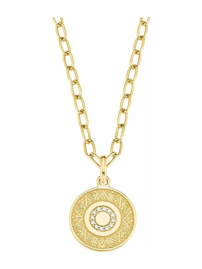 s.Oliver Ketten mit Anhänger für Damen, Sterling Silber 925, Zirkonia Münze, Gold