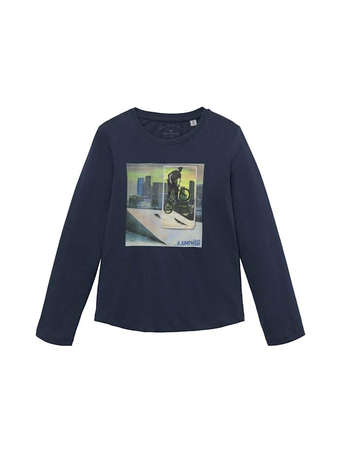 Tom Tailor Print-Langarmshirt mit Artwork, dress blue|blue