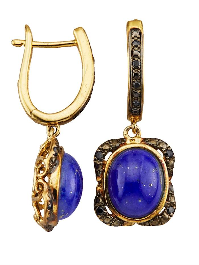 Oorbellen met lapis lazuli en synth. zirkonia's, Blauw