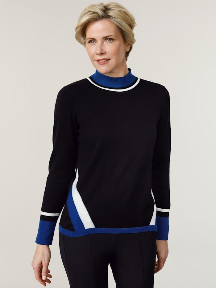 MONA Pullover mit kontrastreicher Intarsie, Schwarz/Royalblau