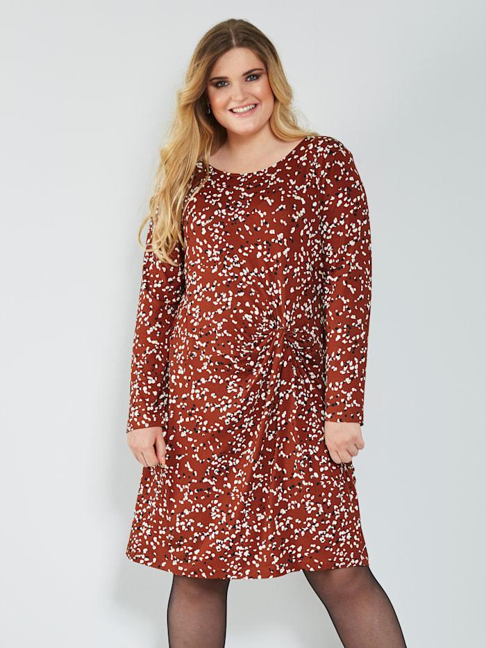 Sara Lindholm Jersey jurk met minimaldessin, Hazelnoot
