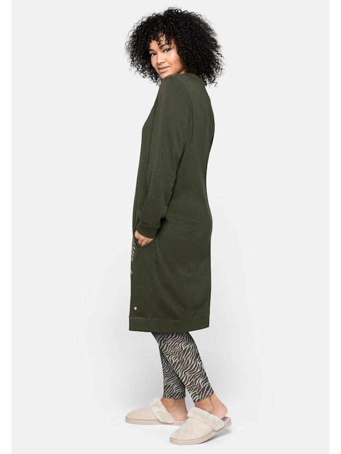 Sheego Kleid mit seitlichem Frontdruck und Eingrifftaschen