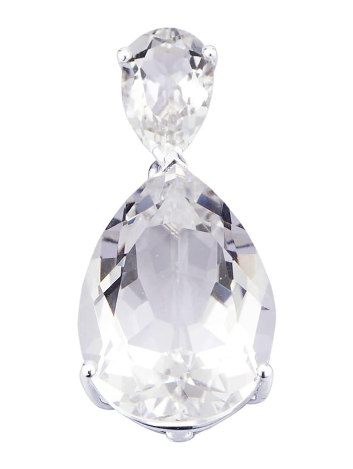 Diemer Farbstein Anhänger mit Bergkristallen, Weiß