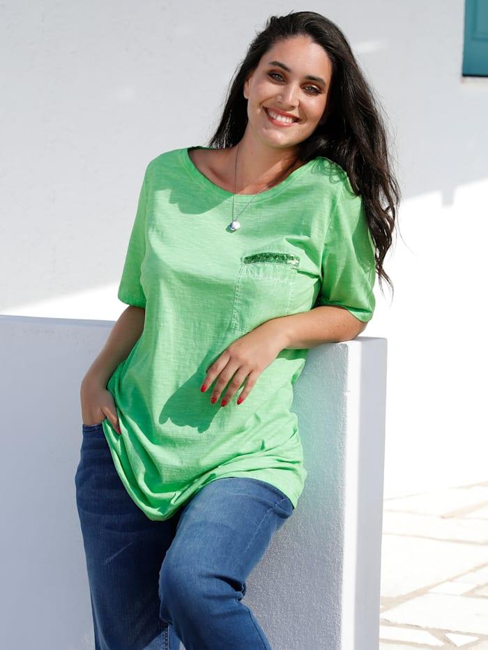 MIAMODA Shirt in Oil Washed Optik, Limettengrün