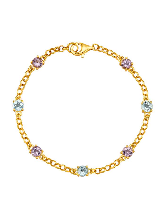 Armband mit Amethyst und Blautopas, Multicolor