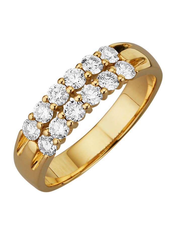 Diemer Diamant Damenring mit lupenreinen Brillanten, Weiß