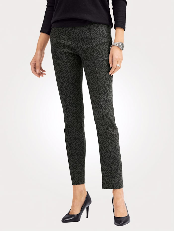 Toni Pull-on trousers with front crease, Black/Taupe