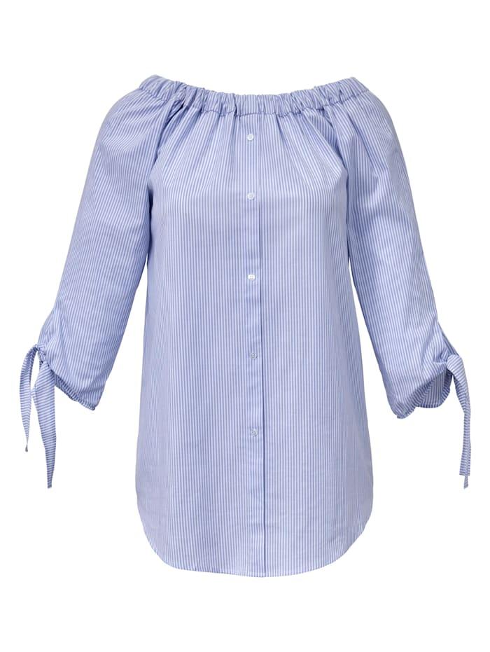 Emilia Lay Streifen-Bluse 3/4-Arm, hellblau/weiß