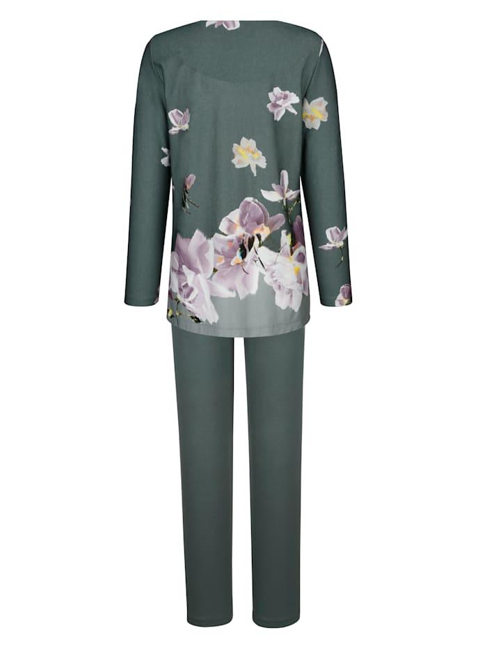 Pyjama met gebloemde rand