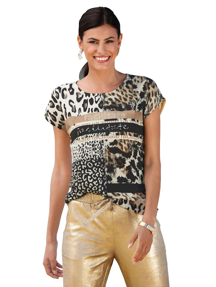 AMY VERMONT Shirt met print voor, Beige/Zwart