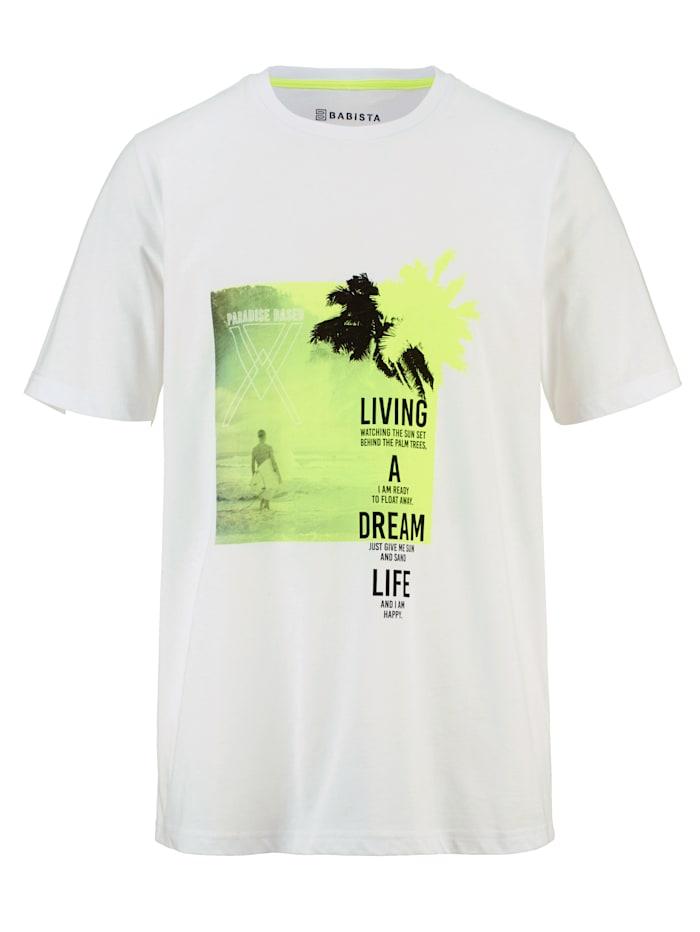 BABISTA Shirt met neonkleurig contrast, Wit