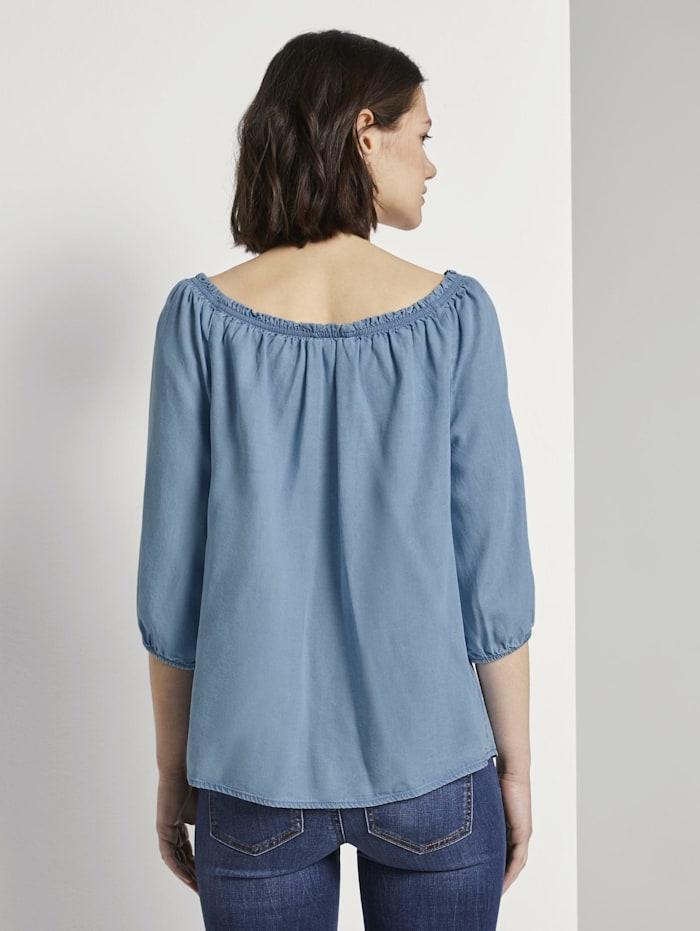 Schulterfreie Carmen-Bluse mit Knöpfen