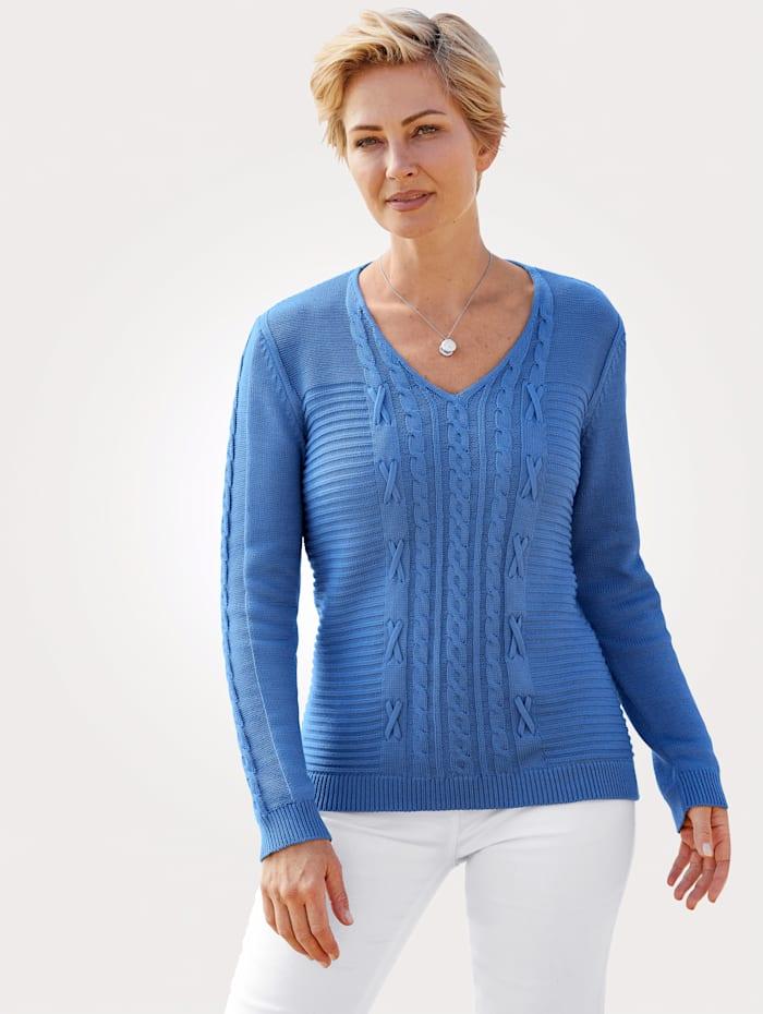 MONA Pullover mit Zopf und Strukturstrick, Blau