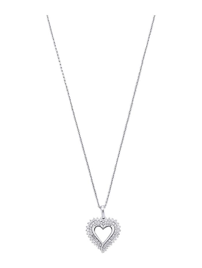 Pendentif + chaîne avec diamants, Blanc