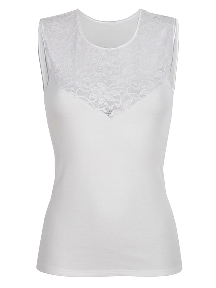Blue Moon T-shirt avec dentelle fantaisie à l'encolure, Blanc