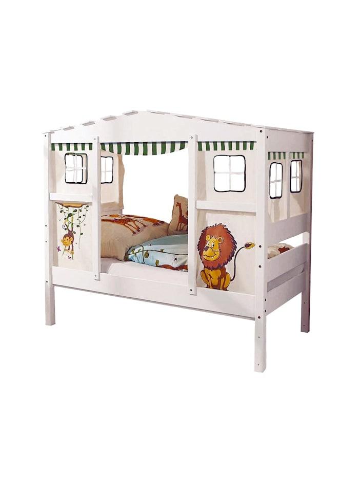 """Hausbett Mini mit Bettkasten """"Safari"""" Kiefer Weiß"""