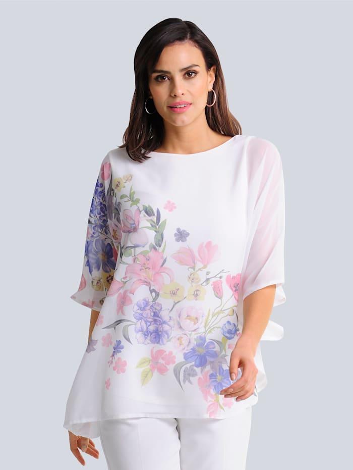Alba Moda Bluse im floralem Dessin, Weiß