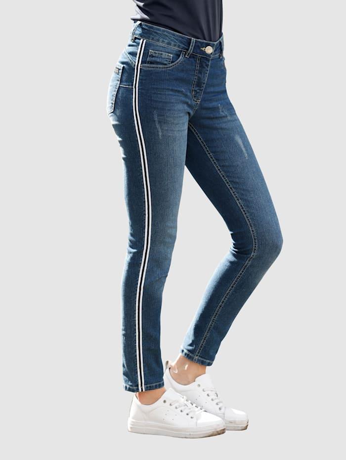 Laura Kent Jeans Laura Extra Slim mit Galonstreifen, Blue bleached