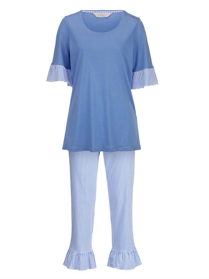 Ringella Pyjama met vrouwelijke volants, azuurblauw/wit