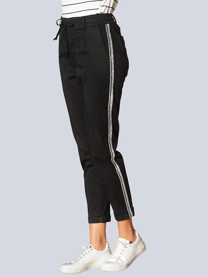 Alba Moda Pantalon à galon côté, Noir/Blanc