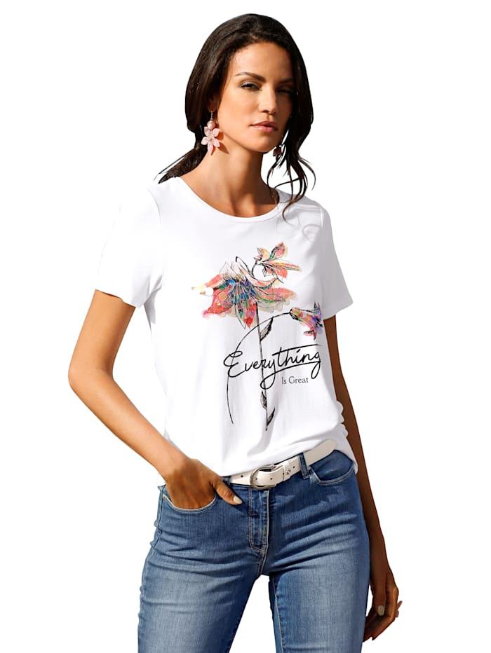 AMY VERMONT Shirt mit Motiv und Pailletten im Vorderteil, Weiß