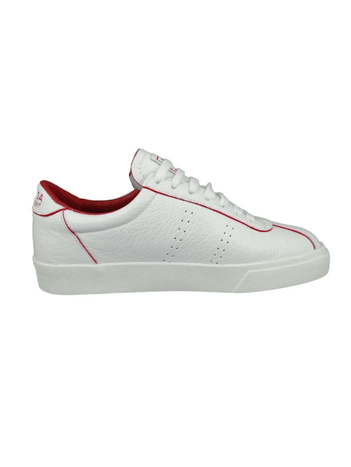 Superga Damenschuhe-Sneaker S111WRW 2869 Club S Comfleau Painted Leder weiß A1Z White red Flame, A1Z White red Flame