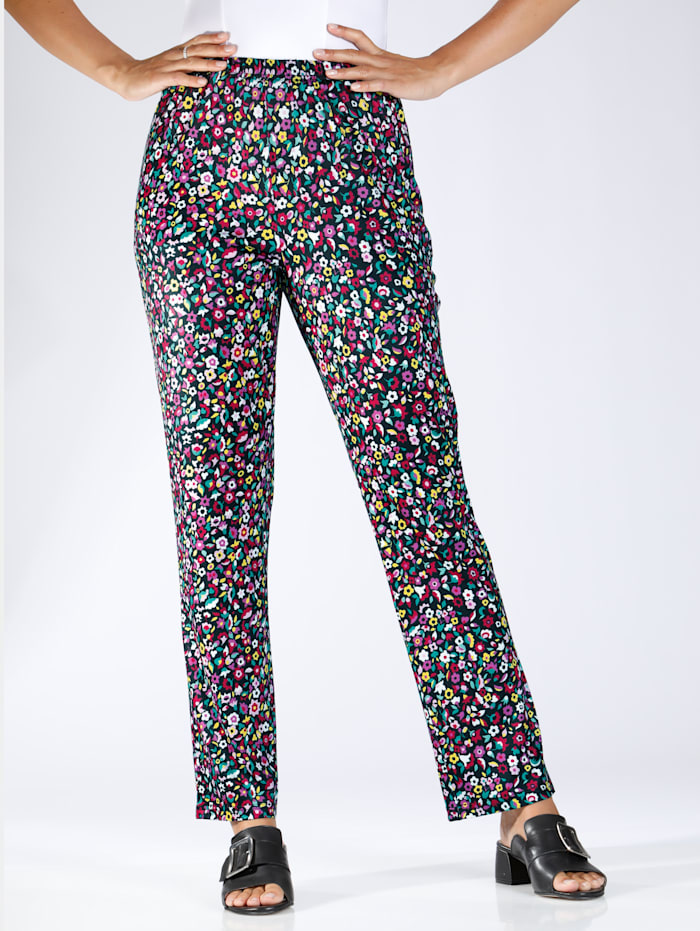 m. collection Jersey broek met bloemenprint rondom, Zwart/Multicolor
