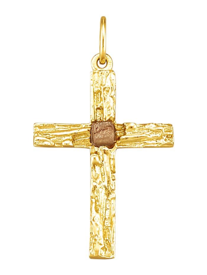 Diemer Gold Kreuz-Anhänger mit Rohdiamant, Gelbgoldfarben