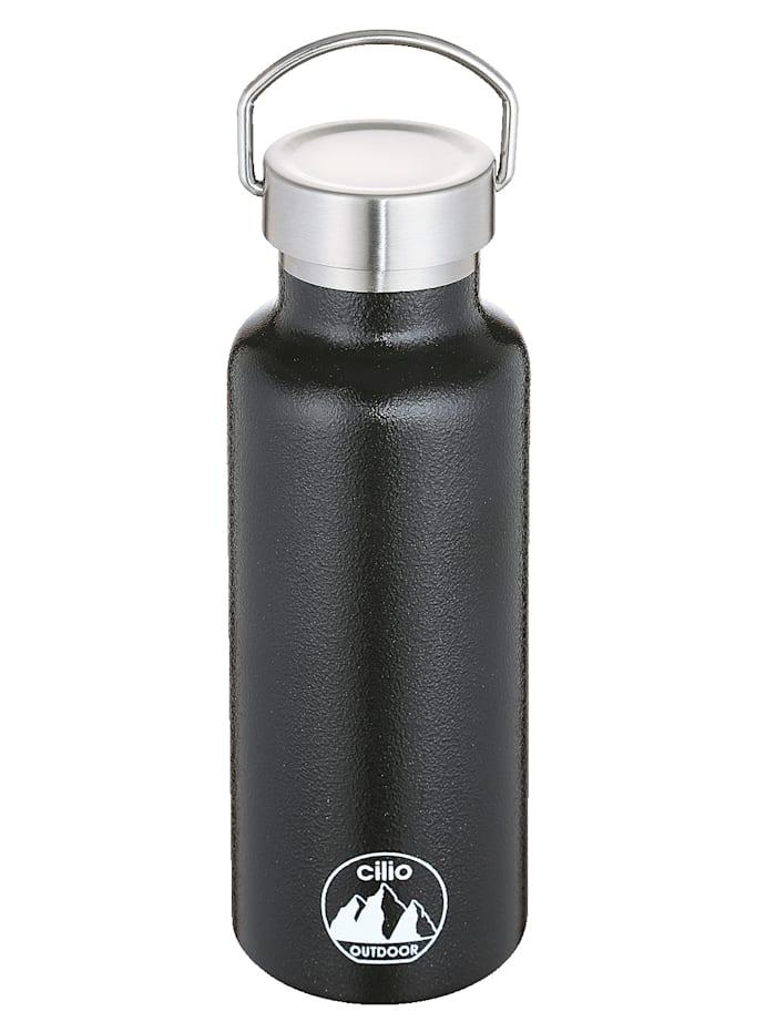 Cilio Isoliertrinkflasche 'GRIGIO', 500 ml Edelstahl lackiert, Schwarz