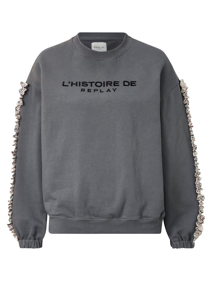 REPLAY Sweatshirt mit Rüschen, Grau