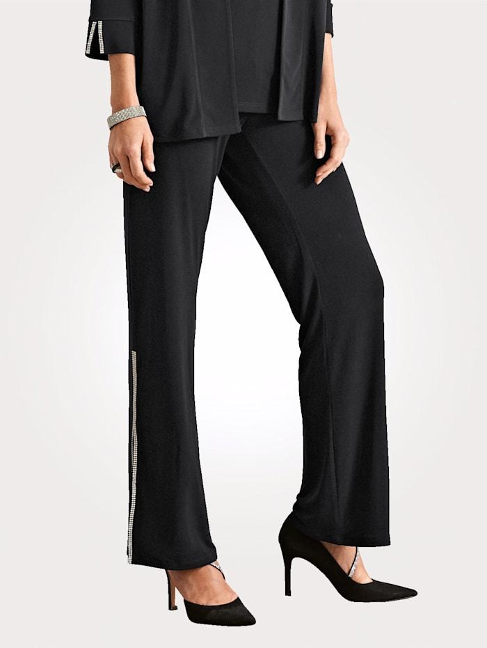 Pantalon en matière slinky et à strass
