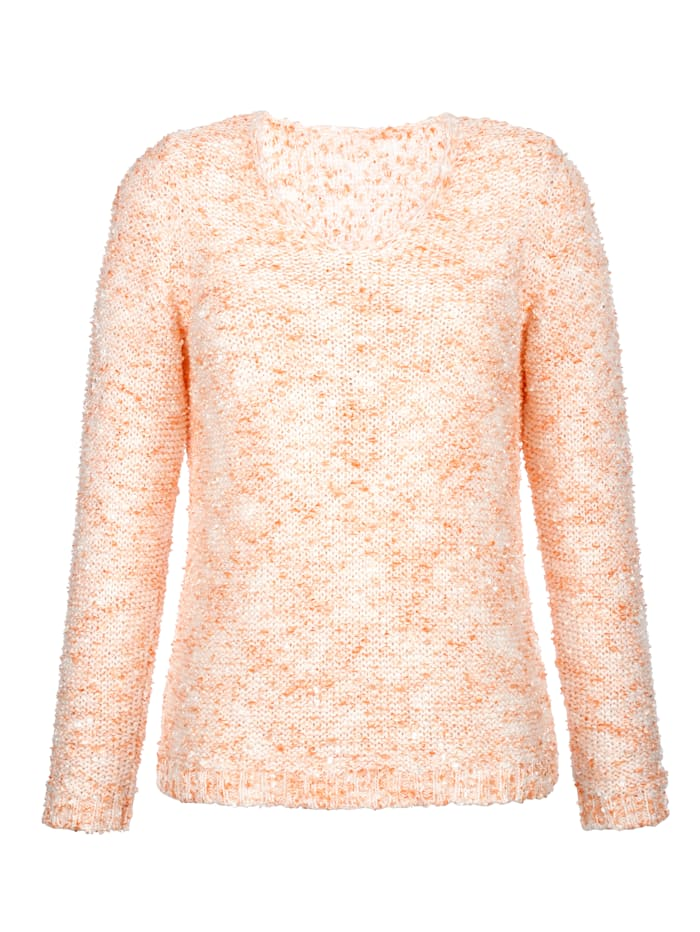 AMY VERMONT Pullover in Bouclé-Optik, Apricot/Off-white