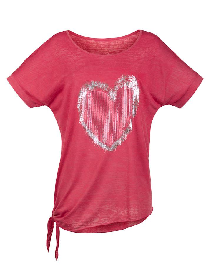 Shirt mit Herzmotiv aus Pailletten
