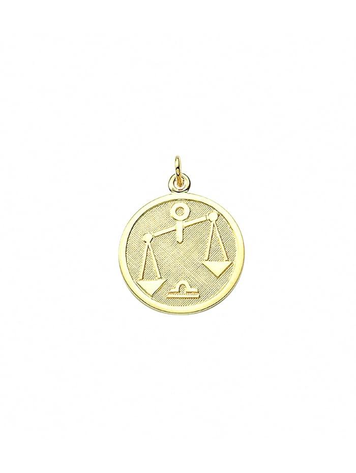 1001 Diamonds Damen & Herren Goldschmuck 333 Gold Sternzeichen Anhänger Waage Ø 16 mm, gold