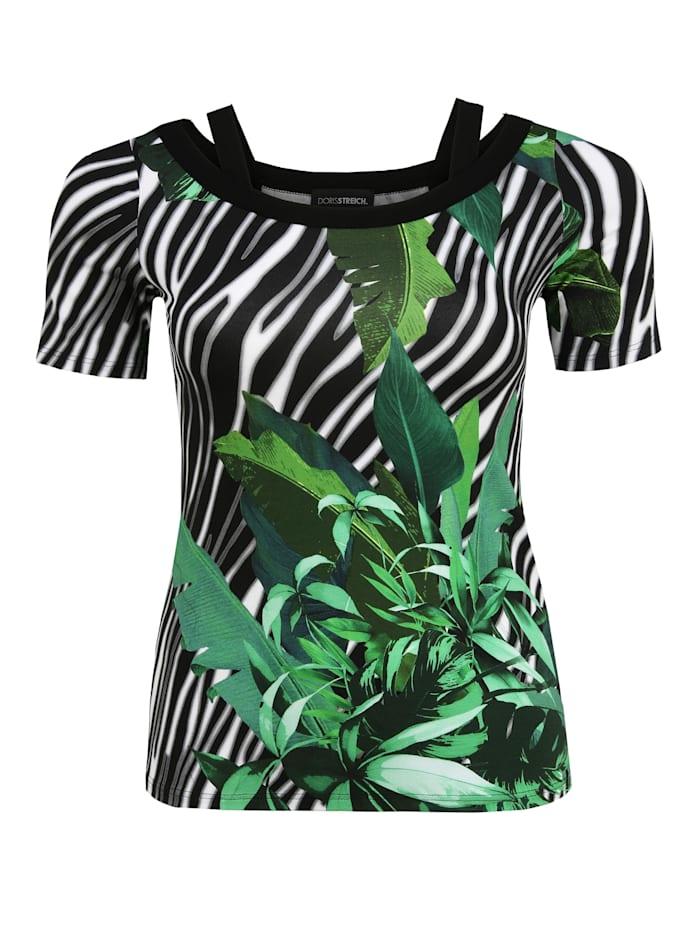 Doris Streich T-Shirt mit Allover-Muster Ton-in-Ton-Nähte, gras