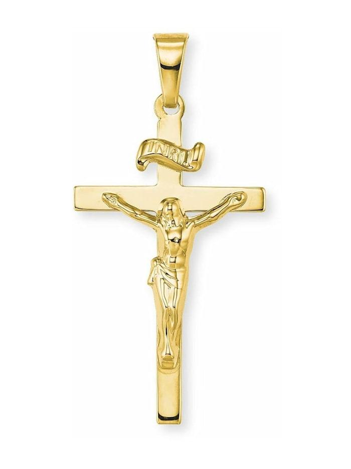 amor Anhänger Unisex, Gold 585, Kreuz mit Corpus, Gold