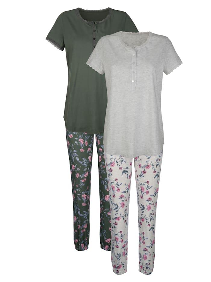 Blue Moon Pyjama's per 2 stuks met bloemenprint rondom, Beige/Olijf/Lila