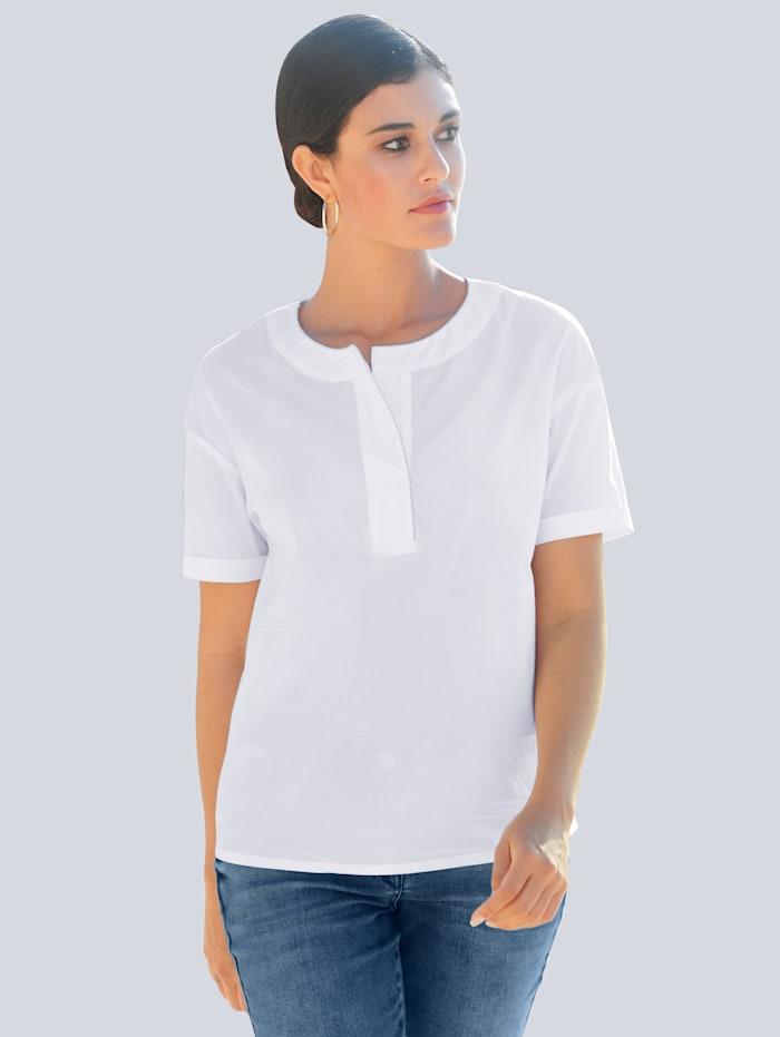 Alba Moda Bluse mit Schmuckkante am Ausschnitt, Weiß