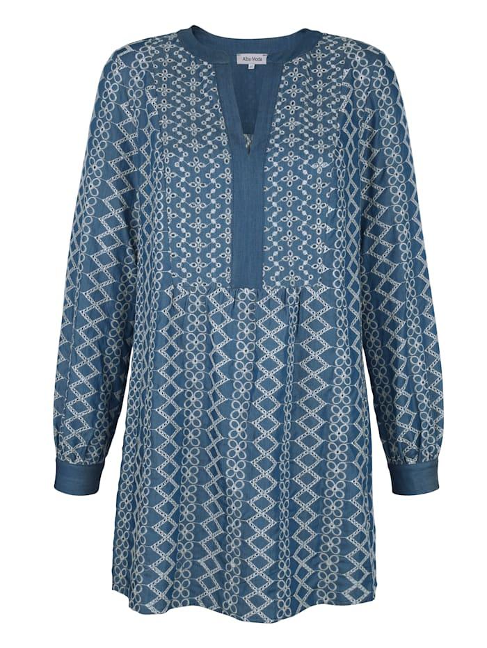 Alba Moda Strandtunika in softer Jeansoptik, Blau
