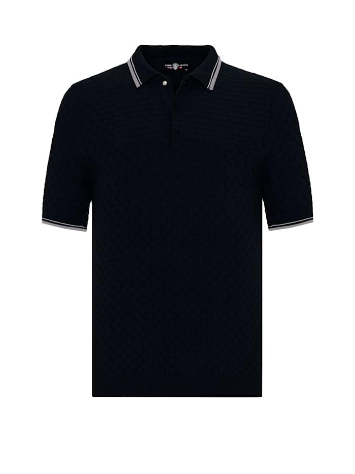 Jimmy Sanders Kurzarm Sweatshirt Zenone mit Polokragen, black