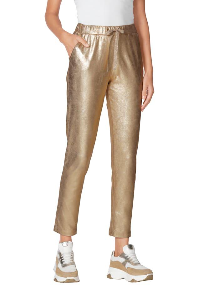 AMY VERMONT Pantalon d'aspect brillant, Coloris or